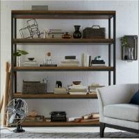 隔断书架置物架实木屏风落地展示书柜现代层架 落地做旧客厅简易书架陈列柜层架