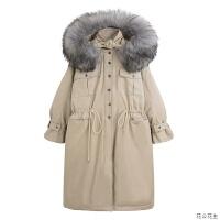 大毛领工装棉衣女冬宽松韩版过膝中长款外套连帽潮