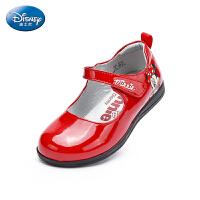 【99元任选2双】迪士尼Disney童鞋19新款中小童米妮皮鞋女童舒适柔软时装鞋亮面演出鞋(5-10岁可选) DY16