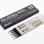 KACO 黑色0.5mm宝珠笔芯 签字笔芯 替芯 金属管5支装