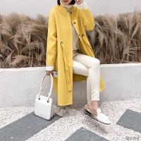 2018秋冬流行双面羊绒大衣女中长款小个子赫本风高端羊毛尼外套 柠檬黄