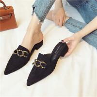 时尚复古风女士单鞋春季休闲舒适粗跟第2眼男人百搭新款女鞋拖鞋