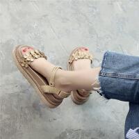 森女系厚底松糕凉鞋夏季新款韩版花朵平底英伦学院风女鞋