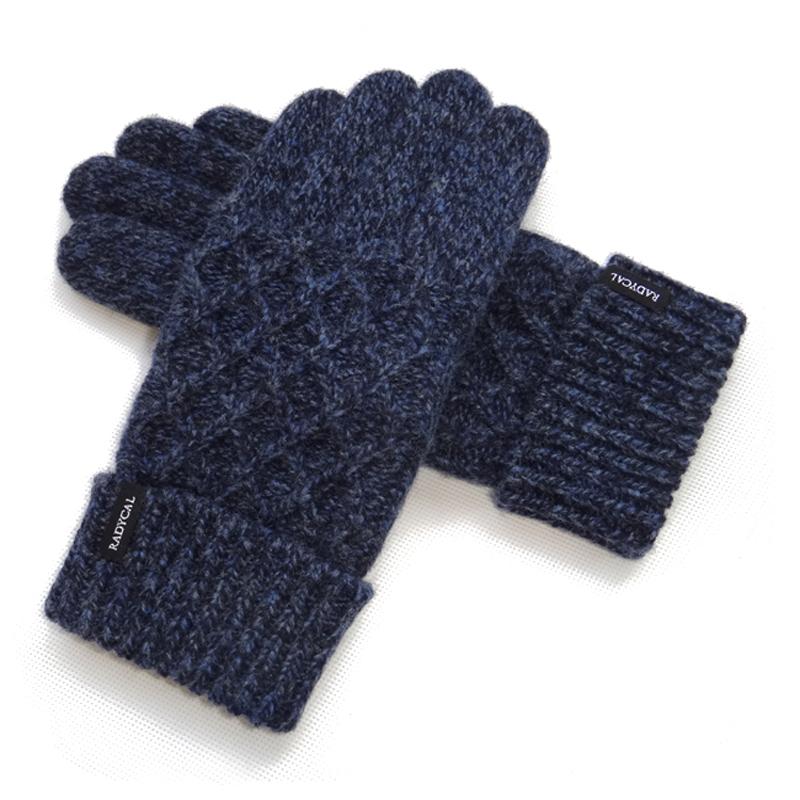 秋冬男士羊毛毛线拧花针织双层加厚加绒触屏户外保暖手套