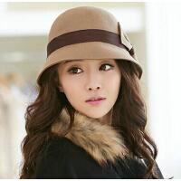 可爱蝴蝶结盆帽   时装帽  时尚帽子女   韩版潮毛呢英伦礼帽冬季毡帽
