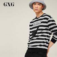 【GXG&大牌日 2.5折到手价:142.25】GXG男装 秋装男士时尚潮流都市黑白条圆领套头卫衣#173231458