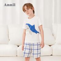 【2件4折价:107.6】安奈儿童装男童睡衣套装夏季t恤短裤两件套2021新款薄款家居服夏