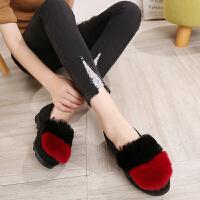 加绒豆豆鞋蝴蝶珍珠毛毛鞋冬季老北京布鞋女棉鞋平底一脚蹬女 拼色M02红色 39
