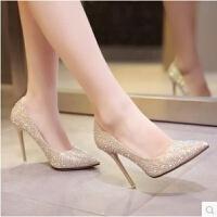 圆头浅口防水台银色婚鞋子礼女18岁生日礼物水晶高跟鞋女单鞋