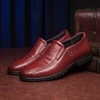 新款男士皮鞋头层软牛皮男鞋商务休闲鞋套脚男单鞋子
