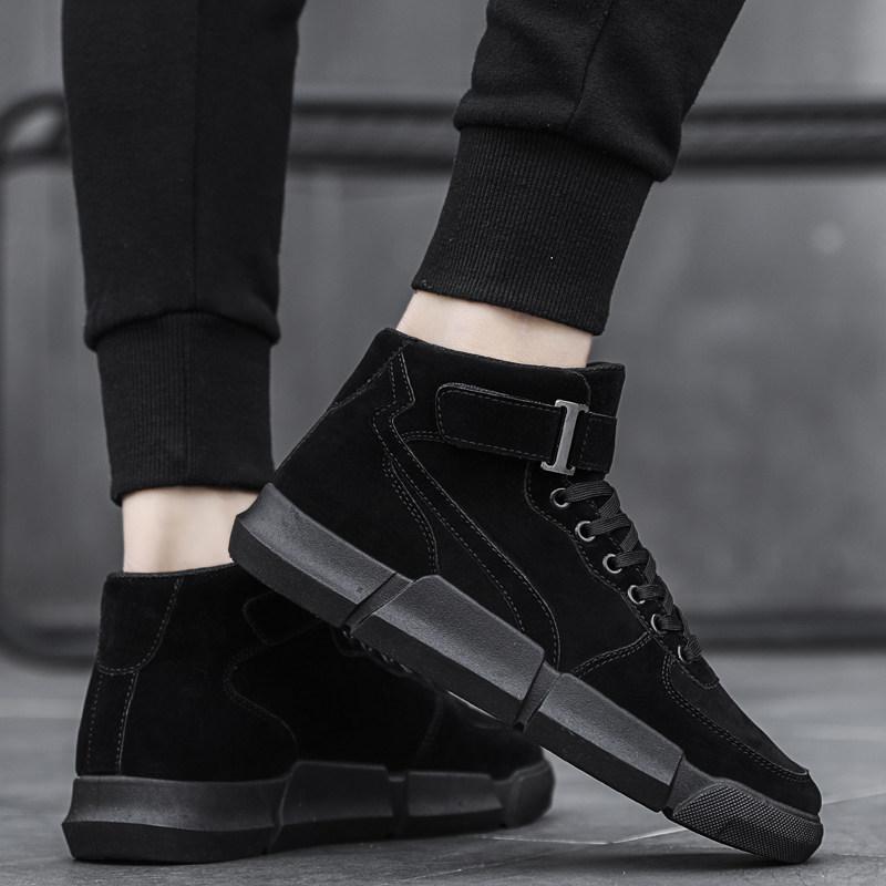 休闲男鞋青少年加绒中帮棉鞋冬季新品男士全黑色高帮板鞋潮流百搭