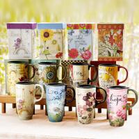 爱屋格林欧式马克杯情侣对杯陶瓷带盖勺大容量简约咖啡杯礼盒装