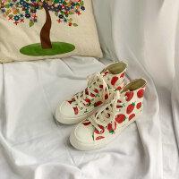 鞋子女2019新品春季高帮草莓帆布鞋学生韩版百搭港风板鞋女潮
