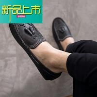 新品上市夏季男鞋韩版豆豆鞋男真皮英伦雕花皮鞋男透气鞋子