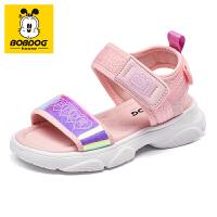 巴布豆童鞋女童凉鞋2021夏季新款儿童公主小学生软底中大童沙滩鞋-粉红