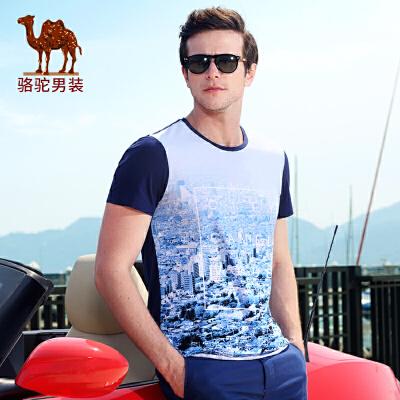 骆驼男装 夏季新款微弹圆领印花休闲短袖T恤 修身棉质T恤衫男