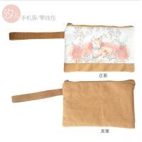 大屏手机包女士韩国卡通可爱零钱包帆布手拿包拉链零钱袋大容量