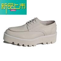 新品上市欧美走秀款5cm厚底增高男士松糕鞋 系带真皮低帮休闲皮鞋潮鞋