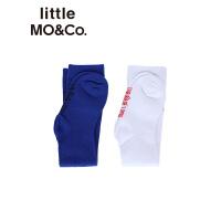 littlemoco男女童撞色slogan中筒袜子童袜秋冬棉料
