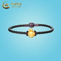 中国黄金《长草颜团子》领结团子硬金转运珠时尚手镯