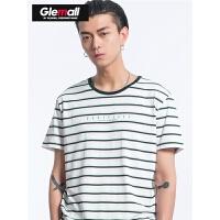 森马潮牌GLEMALL 短袖T恤男夏季潮流条纹短袖T恤男士休闲条纹体恤