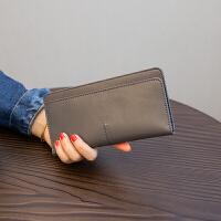 欧美简约长款钱包女仿真皮新款气质搭扣卡位钱夹 灰色 升级版现货当天发