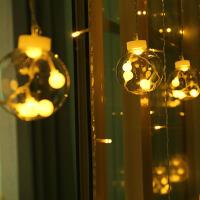 新款led心愿球彩灯串灯背景墙装饰灯窗帘灯透明圆球冰条灯
