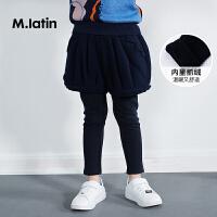 【2件2.5折后到手价:142.25元】马拉丁童装女童针织长裤冬装2018新品时尚假两件设计儿童针织裤