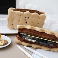 夹心饼干毛绒铅笔袋 简约潮ins风日系大容量网红可爱文具盒少女心