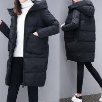 新年特惠大码女装200斤胖冬装新款中长款羽绒外套加厚宽松显瘦棉衣 黑色版棉衣 大口袋