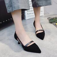 夏季高跟鞋中跟5厘米中空绒面工作鞋单根尖头浅口小单鞋