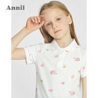 安奈儿童装女童polo衫翻领上衣2021新款短袖t恤夏纯棉女孩体��衫2