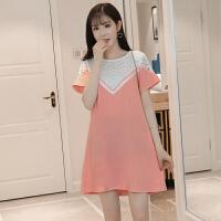 2018夏季新款韩版潮妈蕾丝拼接裙孕妇连衣裙中长款时尚显瘦孕妇装