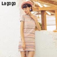【5折价254.5】Lagogo/拉谷谷2019年春季新款撞色条纹短袖连衣裙女IALL622T31