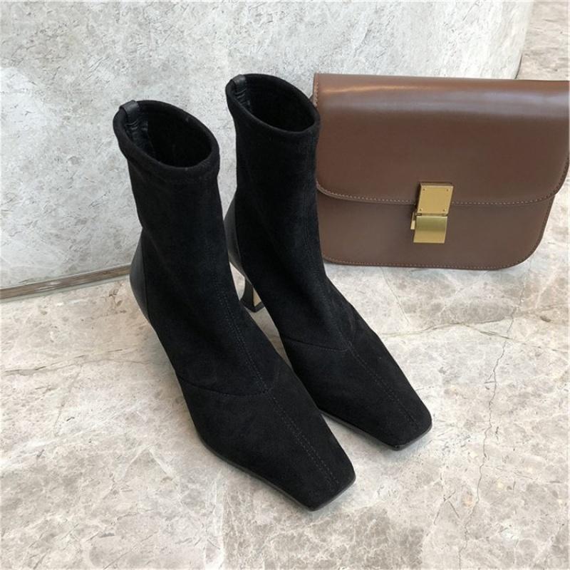 网红同款方头弹力靴女2019新款韩版瘦瘦靴细跟高跟时装短靴袜子靴