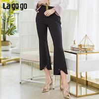 【5折价152】Lagogo2019春季新款微喇叭修身阔腿裤九分裤高腰裤子女IAKK432M61