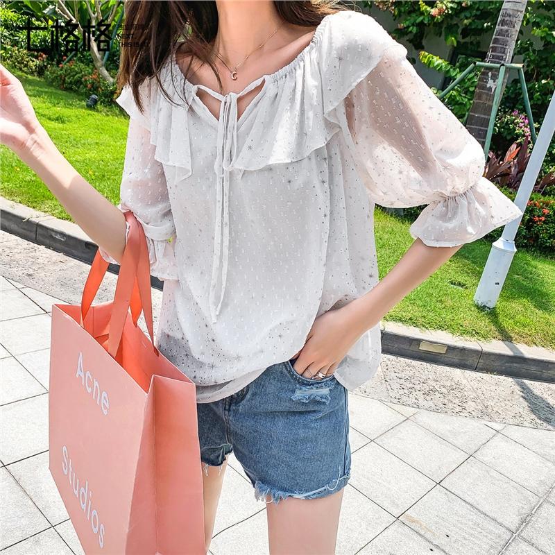 七格格很仙的上衣洋气短袖女2019新款夏装韩版宽松一字肩领雪纺衫