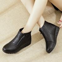 妈妈鞋冬季加绒保暖短靴老太太棉鞋平底防滑老人皮鞋中老年女靴子