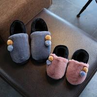 秋冬亲子包跟棉拖鞋儿童保暖女士居家防滑小童中大童毛绒宝宝棉鞋