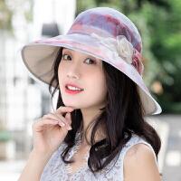 帽子女夏天遮阳帽可折叠防晒帽真丝花朵大檐太阳帽桑蚕丝沙滩凉帽