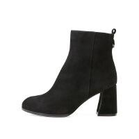 卡迪娜冬季款牛皮革羊反绒粗跟矮靴KLA80211