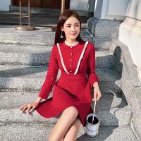 卡贝琳女2019新款秋装很仙的法国小众红色针织连衣裙女赫本复古高腰a字裙子女
