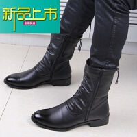 新品上市韩版潮流男靴子英伦高帮靴男士尖头皮靴中筒内增高马丁靴男