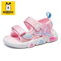 巴布豆童鞋男童凉鞋2021年夏季新款女童宝宝儿童包头防滑机能鞋子-樱花粉