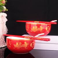 结婚 夫妻对碗婚庆红釉喜碗―红瓷对碗勺筷套装