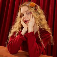 【2件2折后到手价:78】妖精的口袋红色针织毛衣连衣裙2019秋冬季新款女复古a字拜年裙子