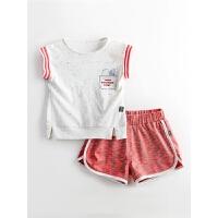 婴儿童夏季女宝宝背心短裤运动跑步t恤短裤套装