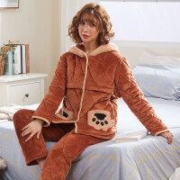 保暖法兰绒喂奶衣 孕妇睡衣女秋冬季厚三层夹棉珊瑚绒月子服产后