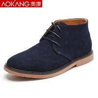 奥康男鞋冬季韩版马丁靴男反绒皮真皮男士高帮男休闲靴