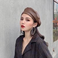 pu皮蓓蕾帽子女秋冬天韩版潮ins日系冬季英伦复古八角贝雷帽